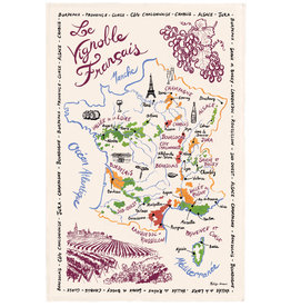 French Wine Map Dish Towel