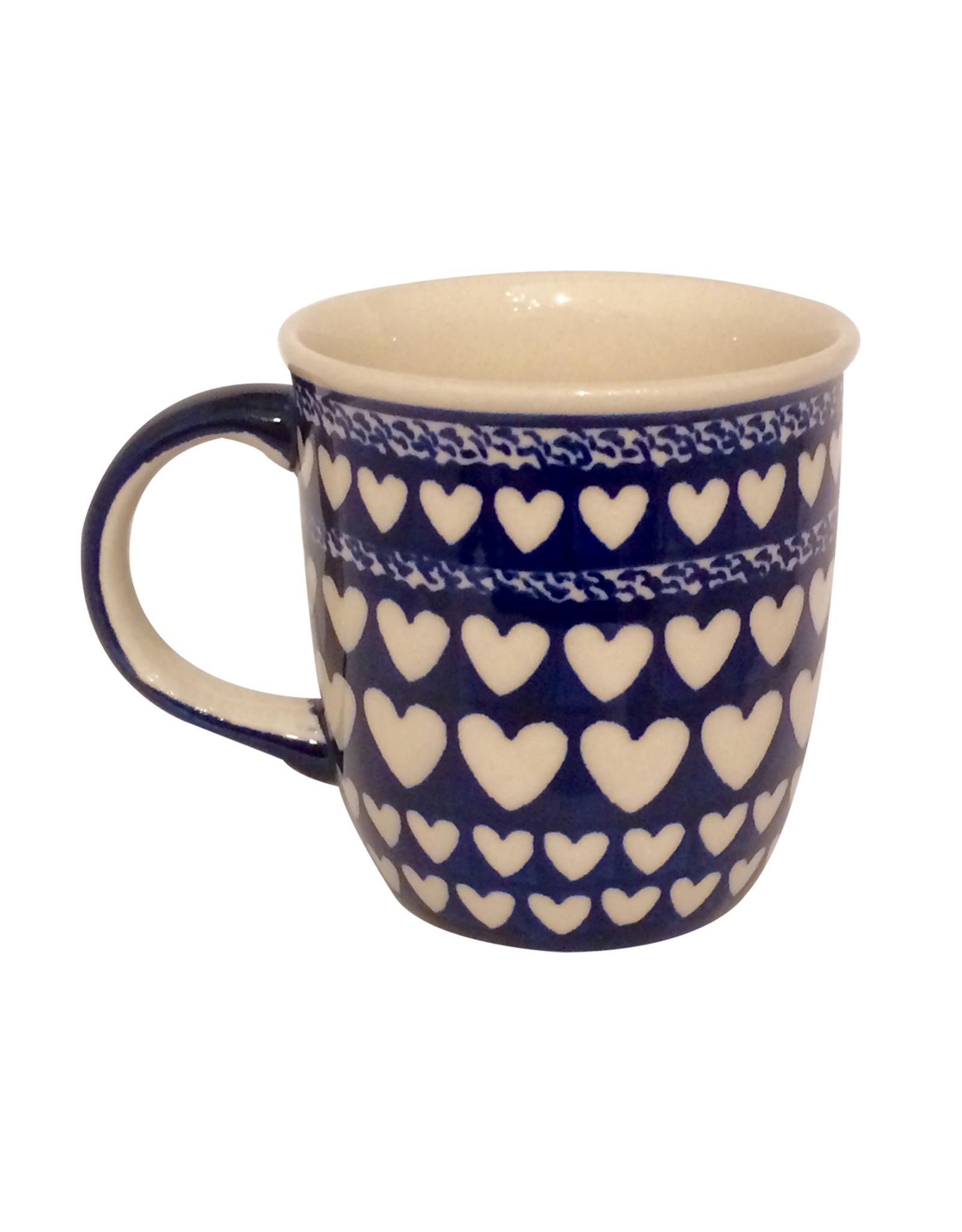 Mug - Blue With White Hearts