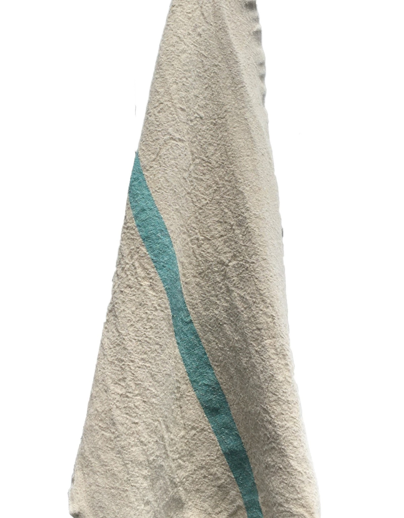 """Charvet Editions - Bistro Towel DouDou Natural/Aqua - 18"""" x 30"""""""