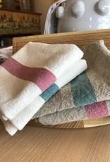 """Charvet Editions Charvet Editions - Bistro Towel DouDou Natural/Aqua - 18"""" x 30"""""""