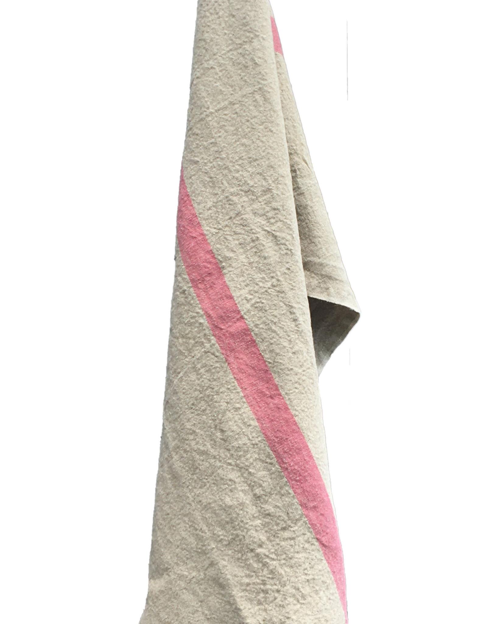 "Charvet Editions - Bistro Towel DouDou Natural/Rose - 18"" x 30"""