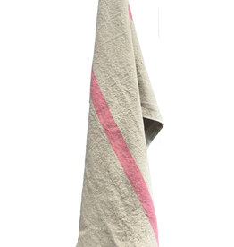 "Charvet Editions - Bistro Towel DouDou Natural/Rose - 18"" x 30"""