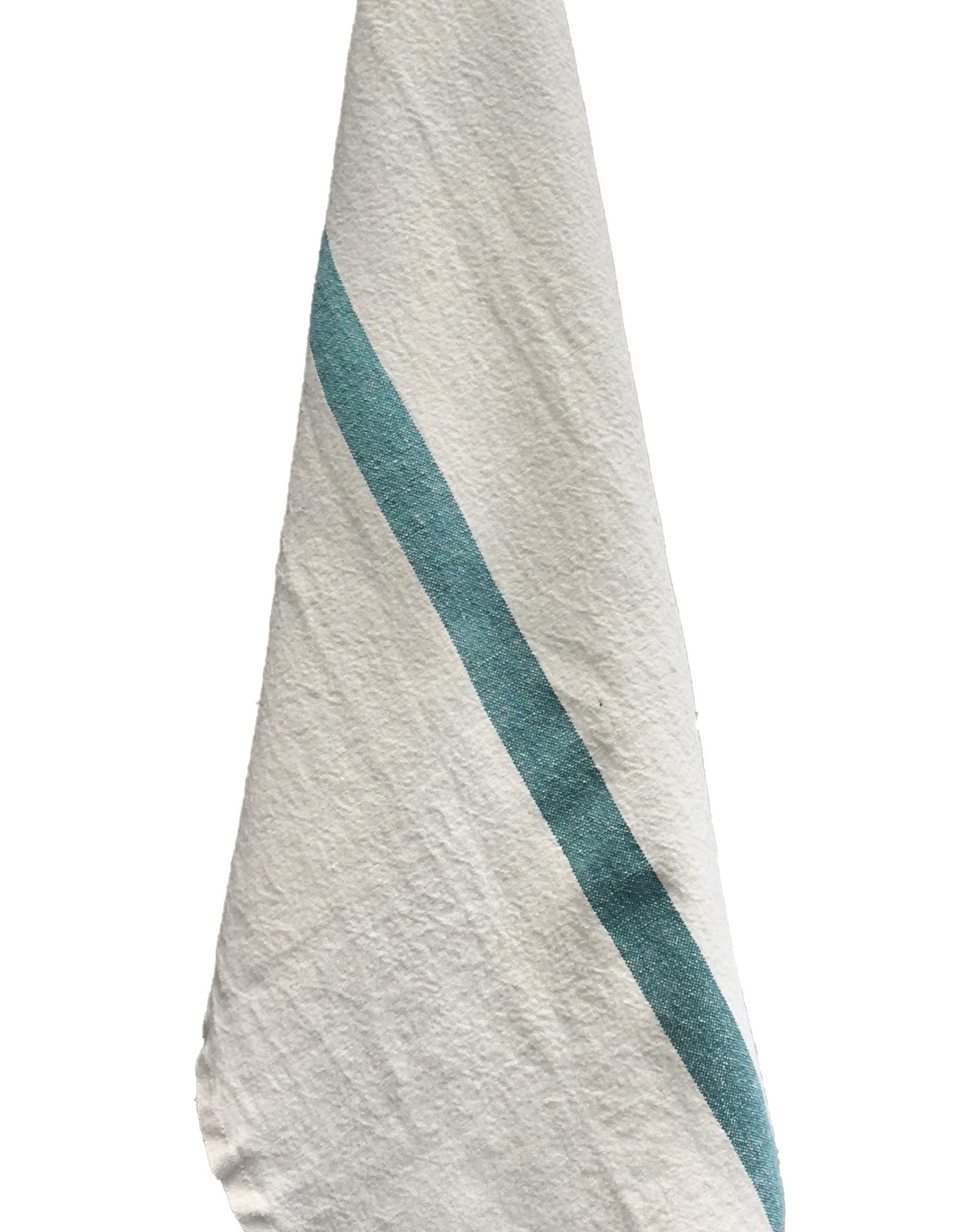 "Charvet Editions - Bistro Towel DouDou White/Aqua - 18"" x 30"""
