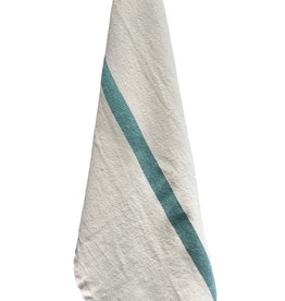 "Charvet Editions Charvet Editions - Bistro Towel DouDou White/Aqua - 18"" x 30"""