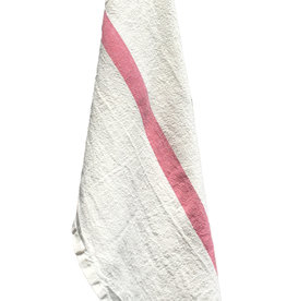 "Charvet Editions - Bistro Towel DouDou White/Rose - 18"" X 30"""