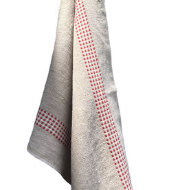 "Charvet Editions Charvet Editions - Bistro/Tea Towel Natural & Red Vichy (Lustucru) - 18""x30"""