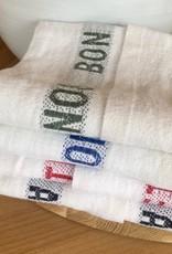 """Charvet Editions - White/Black Bon Appetit Tea towel 18""""x30"""""""