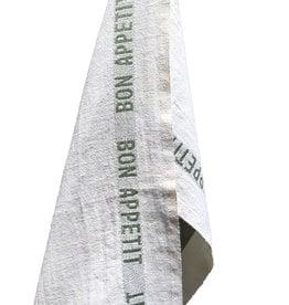 """Charvet Editions Charvet Editions - White/Khaki Bon Appetit Tea towel -18""""x30"""""""