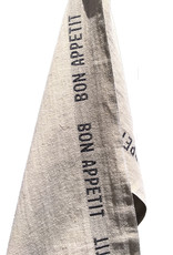 "Charvet Editions - Bistro/Tea Towel Natural & Black Bon Appetit - 18""x30"""