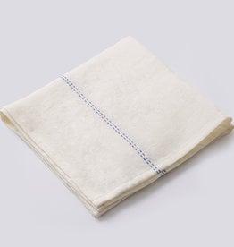 "Charvet Editions Charvet Editions - Napkin Rythmo White w/Blue Stripe - 18"" x 18"""