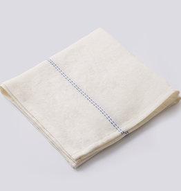 "Charvet Editions - Napkin Rythmo White w/Blue Stripe - 18"" x 18"""