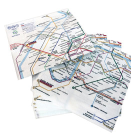 "Paris Metro (Plan RATP) Paper Napkins - Set of 20. 13"" x 13"""