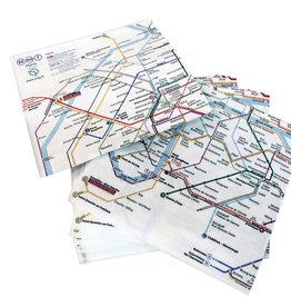 "SDE Paris Metro (Plan RATP) Paper Napkins - Set of 20. 13"" x 13"""