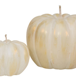 Pumpkin Candle White/Gold - 3.25 x 2.5