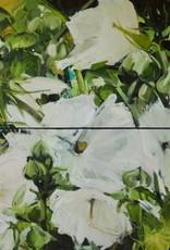 """""""Hollyhocks IV"""" - Oil on Canvas (diptich). 48""""x48"""" Ewa Perz"""
