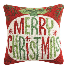 "Merry Christmas Hook Pillow - 16"" X 16"""