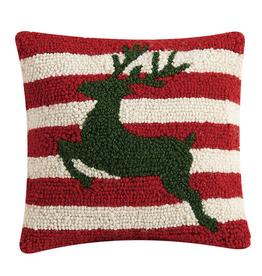 """Reindeer Stripes Hook Pillow - 10"""" x 10"""""""