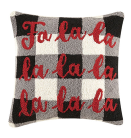 "FA LA LA Checked Hook Pillow - 16"" x 16"""