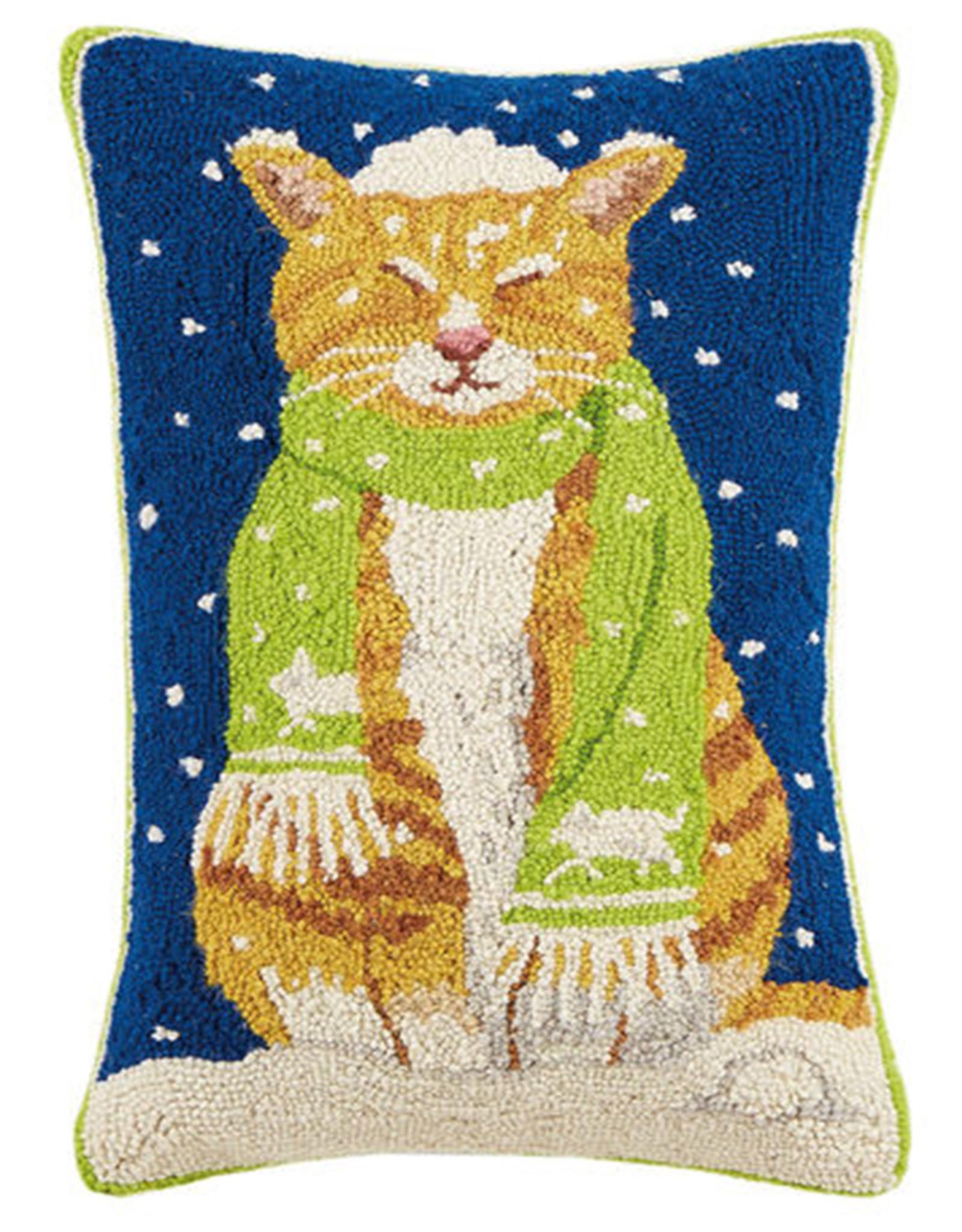 """Cat w/Scarf Hook Pillow - 22"""" Oblong"""