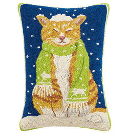"Cat w/Scarf Hook Pillow - 22"" Oblong"