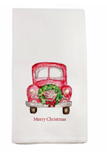 Towel - Red Truck With Wreath - Merry Christmas!