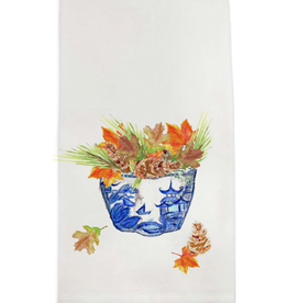 Towel - Blue/White Bowl with  Fall Leaves