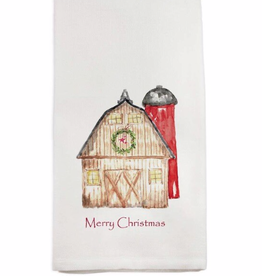 Towel - Barn w/Wreath Merry Christmas