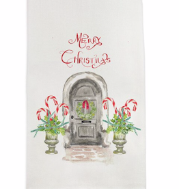 Towel - Grey Door w/Candy Canes Merry Christmas