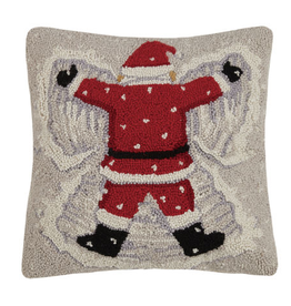 "Santa Snow Angel  Hook Pillow - 16"" X 16"""