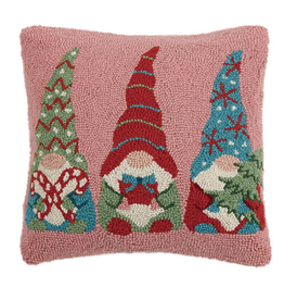 "Gnome Trio Hook Pillow - 16"" x 16"""