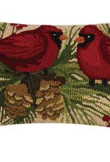 "Holly Cardinals Duo Hook Pillow - 12"" x 20"""