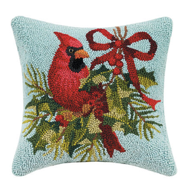"Holly Cardinal Hook Pillow - 14"" x 14"""