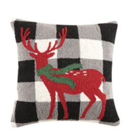 """Reindeer w/Scarf Hook Pillow - 16"""" x 16"""""""