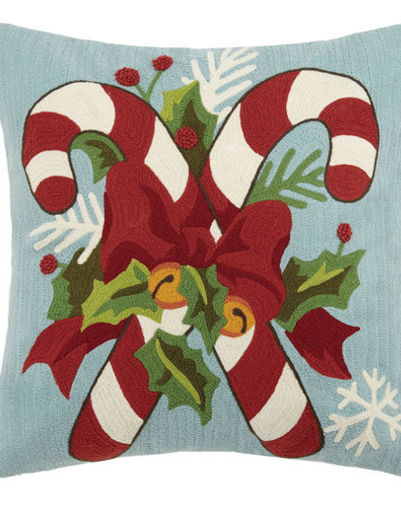 """Candy Cane w/Holly Leaves Crewel Pillow - 18"""" x 18"""""""