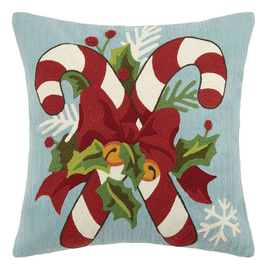 "Candy Cane w/Holly Leaves Crewel Pillow - 18"" x 18"""