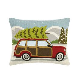 "Pillow - Wagon w/Christmas Tree (Crewel) - 20"" Oblong"