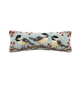 """Winter Chickadees Hook Pillow - 8"""" x 20"""""""