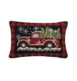 "Wagon Red Plaid Hook Pillow - 16"" x 22"""