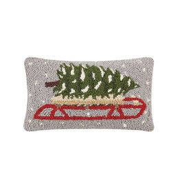 "Tree on Sled Hook Pillow - 8"" x 12"""