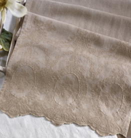 "Stonewashed Embroidered Table Runner  Natural - 16"" x 72"""