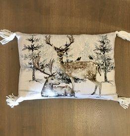 """Winter Deer Pillow 13"""" x 18"""" - Down Filled"""