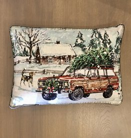 Xmas Station Wagon Pillow w/LED Lights - Down Filled