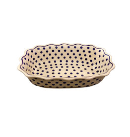 Scalloped Dish: White w/ Blue Dots