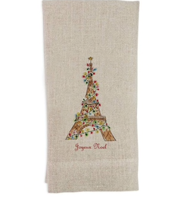 Eiffel Towel w/Lights Natural Linen Guest Towel