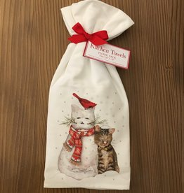 Snowman Cat Towel - Set of 2