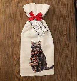 Cat w/Burberry Scarf Towel Set
