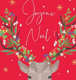 "Joyeux Noel Deer 5"" x 6 3/4"" - Laura Darrington Design"