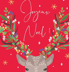"PGC Joyeux Noel Deer 5"" x 6 3/4"" - Laura Darrington Design"