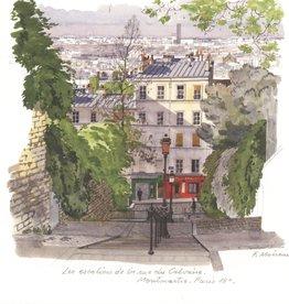Les Escaliers de la Rue du Calvaire Montmartre, Paris - Greeting Card
