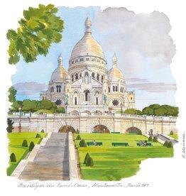 """Basilique du Soecre'-Coeur, Montmartre, Paris - 6"""" X 6"""""""